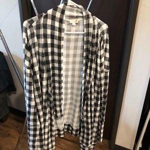 Black and white checkered cardigan